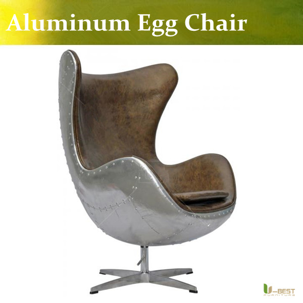 U-BEST Genuine leather aluminum egg chair modern fashion design in brown color,Leather Armchairs - Aviator Tomcat Chair(China (Mainland))