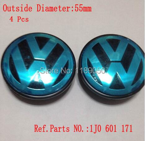 New Free shipping 4pcs 55mm VW wheel center hub cap cover sets Fits For Volkswagen BORA JETTA PASSAT LOGO 1J0 601 171(China (Mainland))
