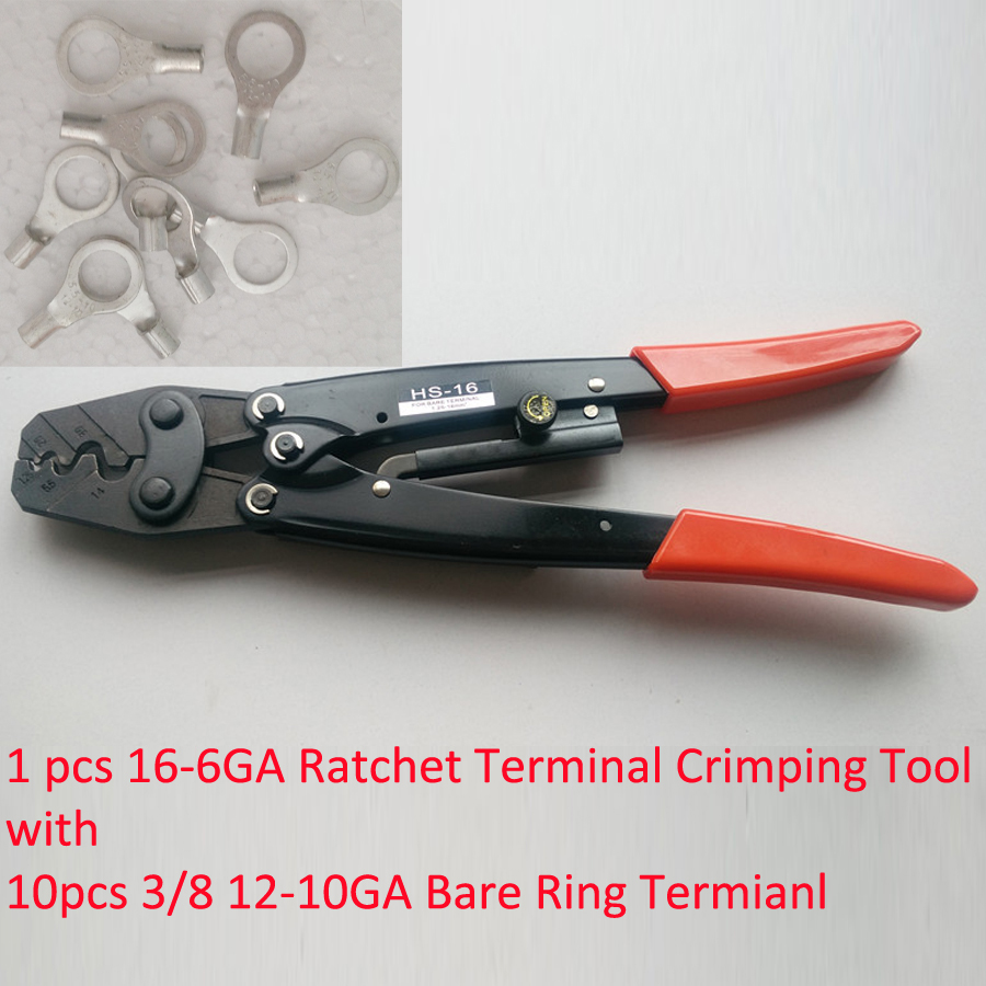 HS-16 Ratchet Terminal Crimper for Non-insulated AWG16-6 with 10 3/8 12-10Ga Wire Ring Terminal Connector Uninsulated<br><br>Aliexpress