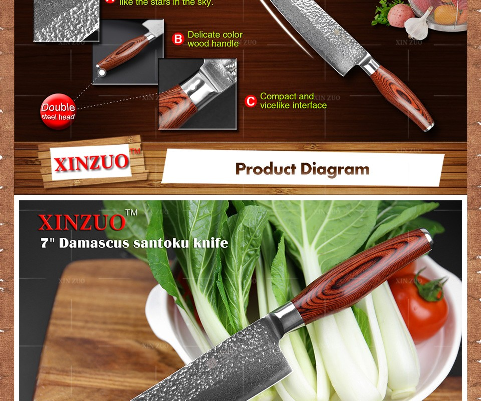"Buy XINUZO 73 layers 7"" santoku knife Japan Damascus steel kitchen knife japanese chef knife with Color wood handle free shipping cheap"