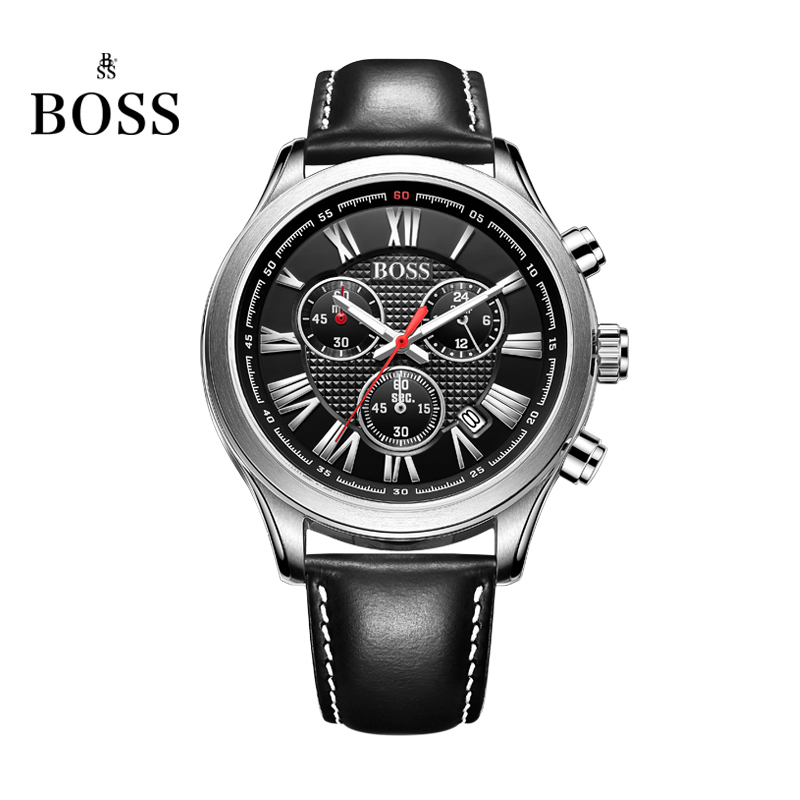 BOSS Germany watches men luxury brand Nurburgring series multi-function Chronograph watch luminous Rome white Leather belt(China (Mainland))