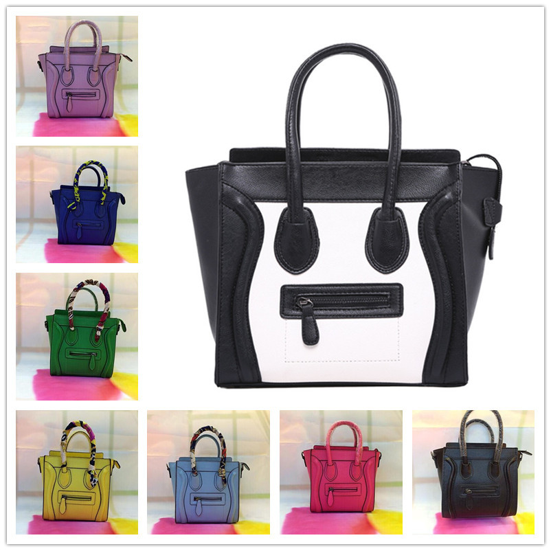 Classic Candy Color Genuine Leather Lichee Grain Smiley Bag European Trend Phantom Bag Women Handbag Smiley Messenger Bag M Size(China (Mainland))