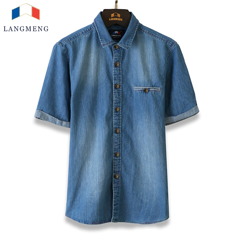 2015 100% cotton men denim slim fit dress shirts summer short sleeve camisa masculina vintage solid color jeans casual shirts
