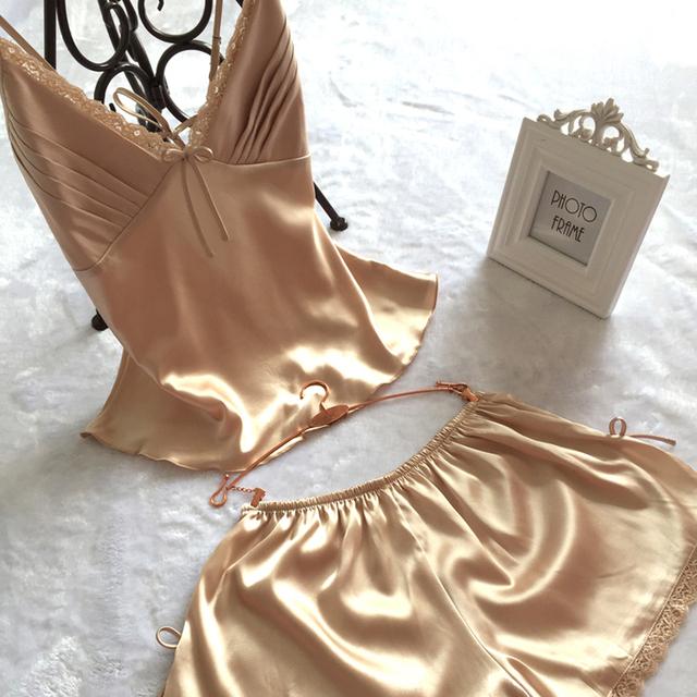 Мода Sexy V-образным Вырезом Район Шелковый Пижамы Множеств, Плюс Размер XXL Женская ...