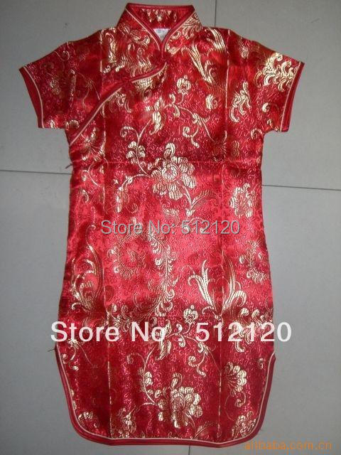 Free shipping 2015 New arrival hot sale Phoenix pattern Girl's Charmeuse cheongsam Chinese dress for children drop shipping(China (Mainland))