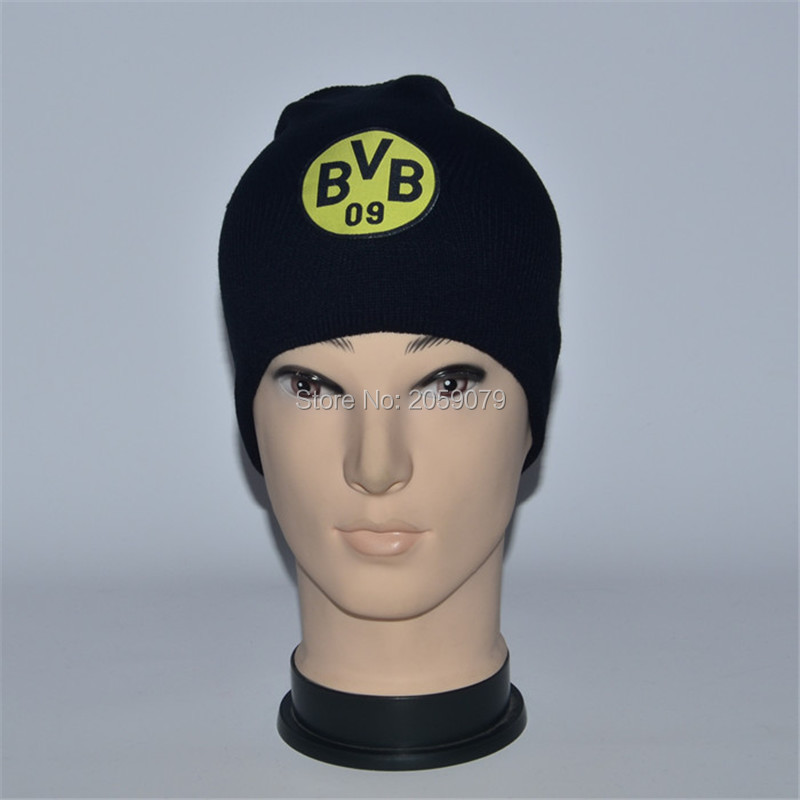 wholesale 26 team choose borussia dortmund football fans gift winter black caps BVB knitted soccer hat(China (Mainland))