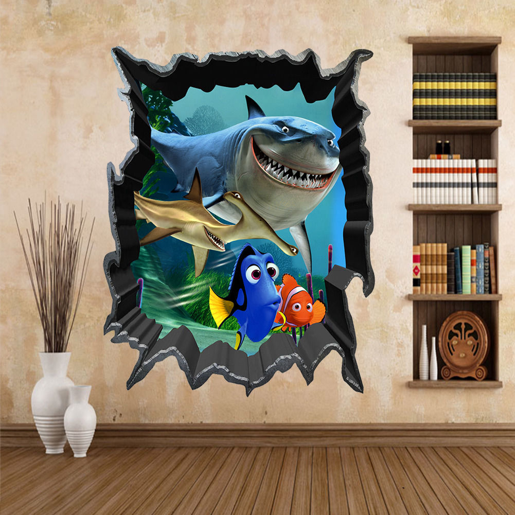 Cartoon Finding Nemo Sea Fish 3D View Art Wall Stickers Decals Mural Home Decor(China (Mainland))