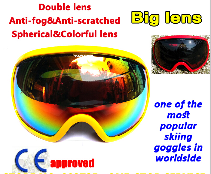 Large Lens skiing goggles double Lens ski mask glasses Unisex snow snowboard goggles YH68(China (Mainland))
