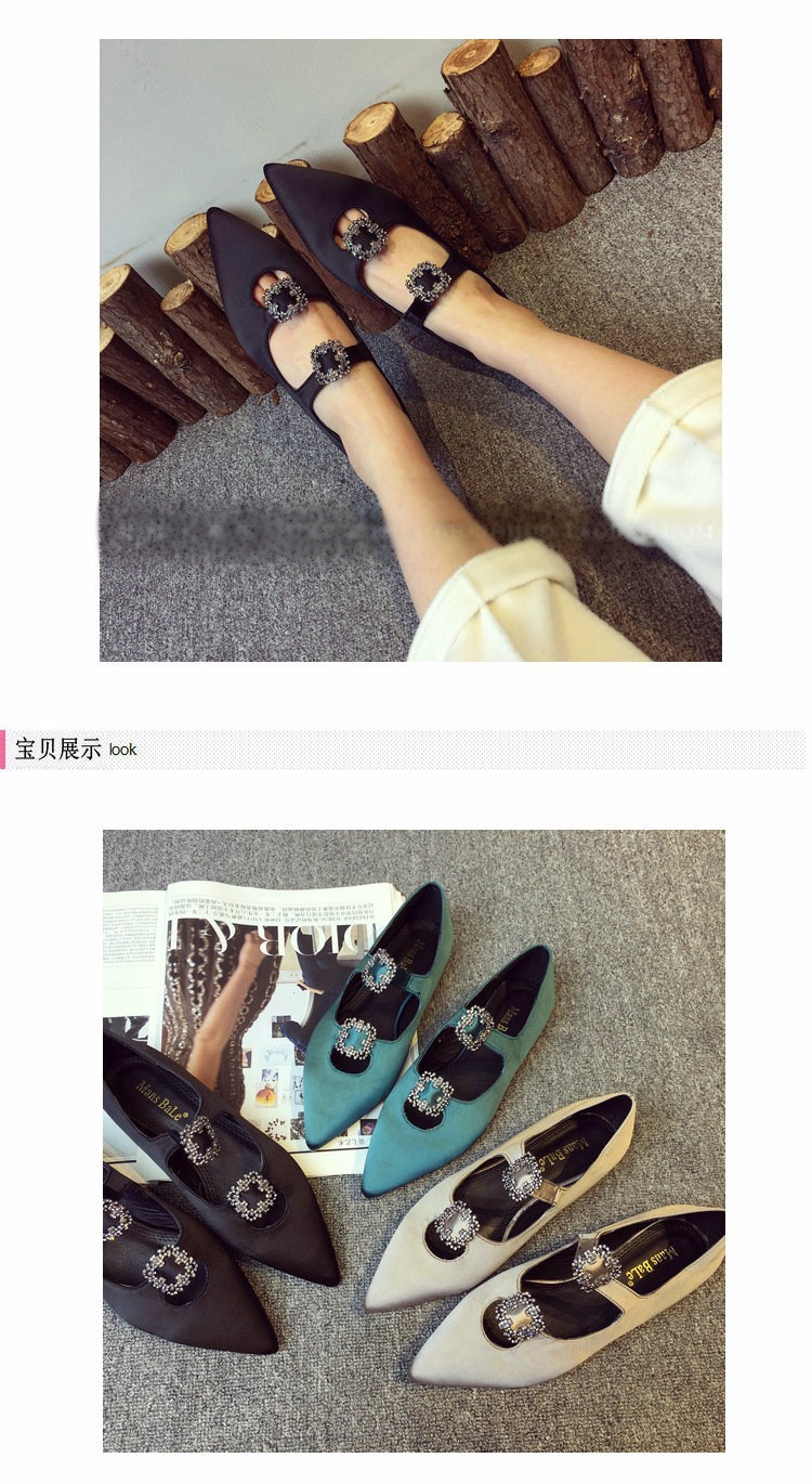 Fashion Hot Women Casual Rhinestone Pointed Toe Blue Gold Black Loafers Flat Shoes a Pedal Lazy Women Singles Shoes Z4.5