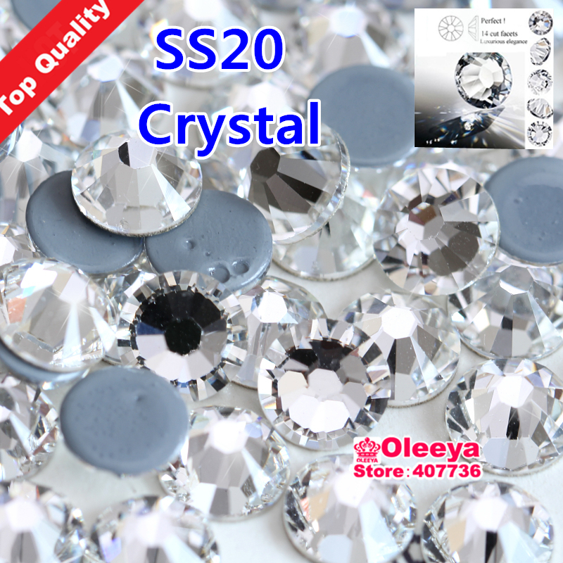 Excellent Quality Best Grade SS20 Clear Hot Fix Rhinestone Flat Back Iron On Hot Fix Crystal Strass Better Than AAAAA One Y2794(China (Mainland))