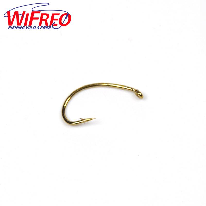 50PCS 3 Sizes Fly Tying Hook Nymph Bug Shrimp Pupae Larvae Caddis Flies Fish Hooks #10 #12 #14 Gold Color Kirbed Sharp(China (Mainland))