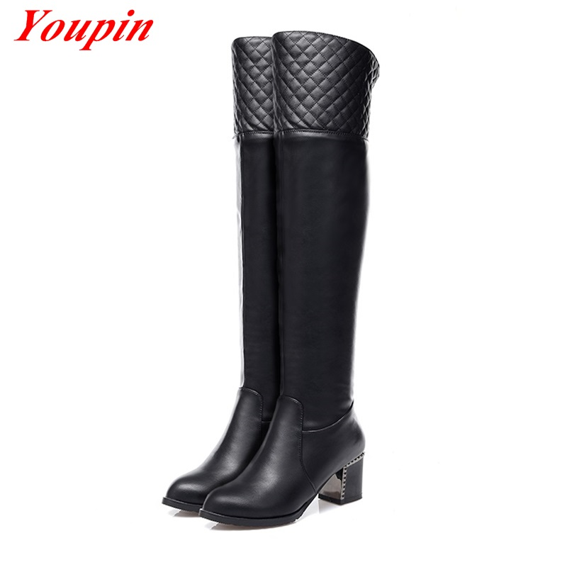 Women Boots Over Knee 2015 Short Plush Knee-high Boot Black Womens Boots 34-39 Winter Boots Round Toe Long Boots Knight Boots<br><br>Aliexpress