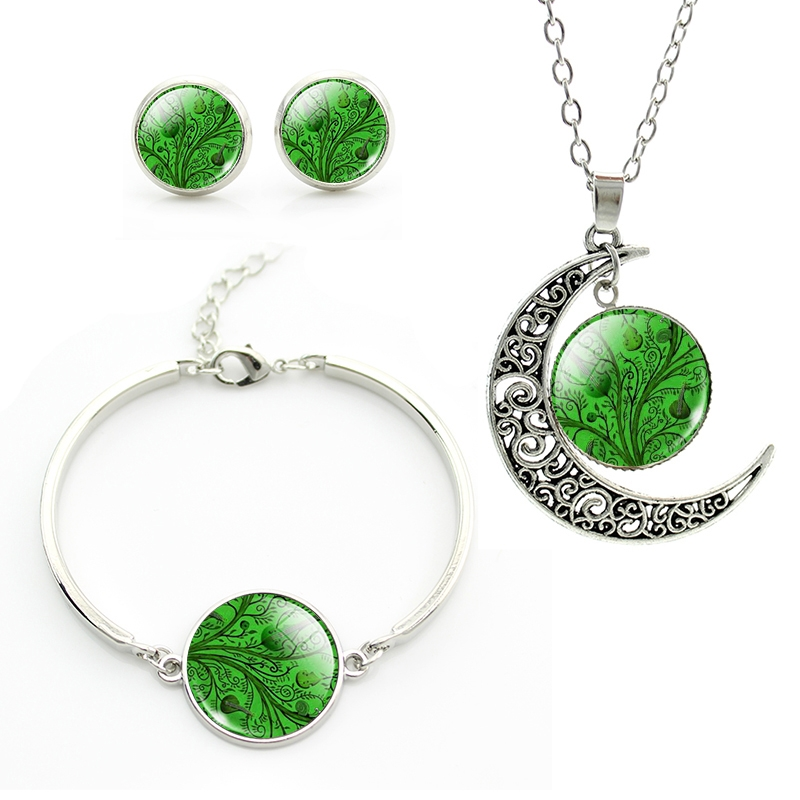 Party jewelry Women Dress Accessories Green tree moon pendant Necklace set bracelet Stud Earrings summer jewelry JS216(China (Mainland))