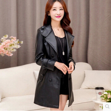 2016 Winter New Women brand leather coat fashion slim PU long leather Coat Jacket plus size 5XL Long Leather Trench Coat  AE352(China (Mainland))