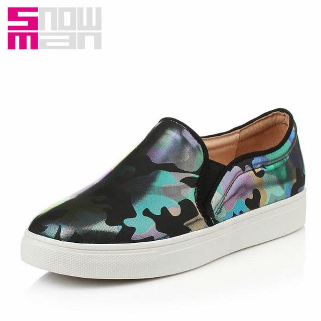 2016 мокасины квартир красивые отпечатки обуви женщина мода толстые туфли на платформе весна свободного покроя большой размер 34 - 43
