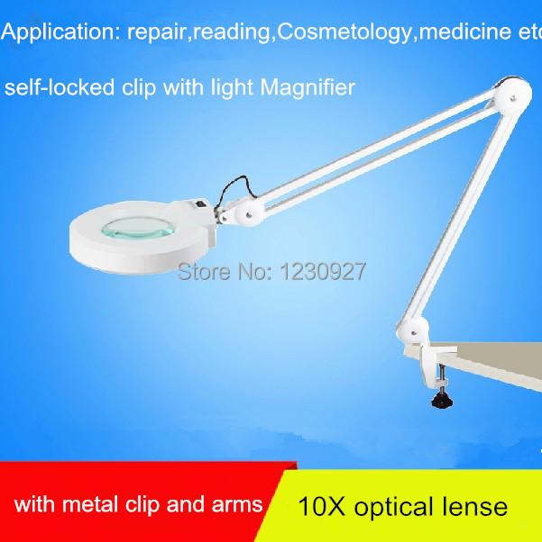 2015 New Self Locked Clip Magnifier Led Desk Lamp Desktop