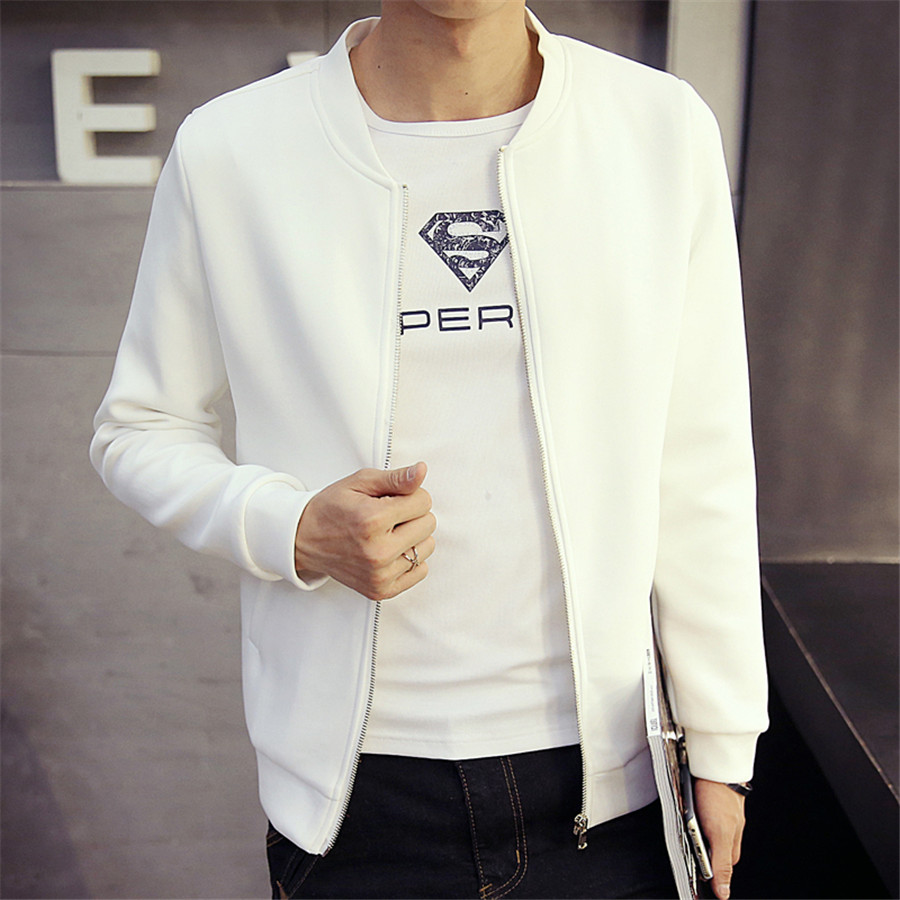 Spring Autumn Fashion Style Men Coat Four Colors Base Ball Cloth Large Size Male Tops Solid Full Sleeve Slim Looking Zipper(China (Mainland))