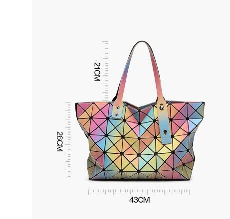 2016 Hot Fashion Women's Handbag Hight Quality Same As BaoBao Bag Design 3D Rainbow  Totes 6*6 Lattice Serpentine Liopard Print