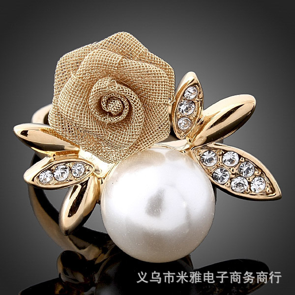2014 New Real Crystal Jewelry Rings The Gorgeous 18k Plated Ring O Fashion Pearl Rings for Woman And Jewelry No Minorder Rg067(China (Mainland))