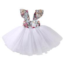 אופנה חמוד 0-5Y תלבושת מסיבת קיץ יילוד תינוקות תינוק בנות O-צוואר פרחוני הדפסת מוצק תחרה באורך הברך טוטו נסיכה שמלה(China)