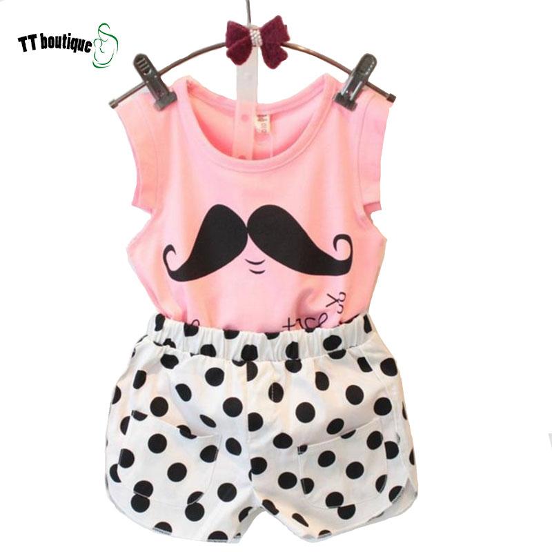 2016 summer style baby girls clothing set cotton sleeveless T-shirt + dot pants 2 PC /set 2-8 years old children clothes(China (Mainland))