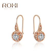ROXI High quality Fashion Rose Gold Zircon Female/Male Austria Crystal Stud Earrings,New Year Gift,trendy style girls earrings(China (Mainland))