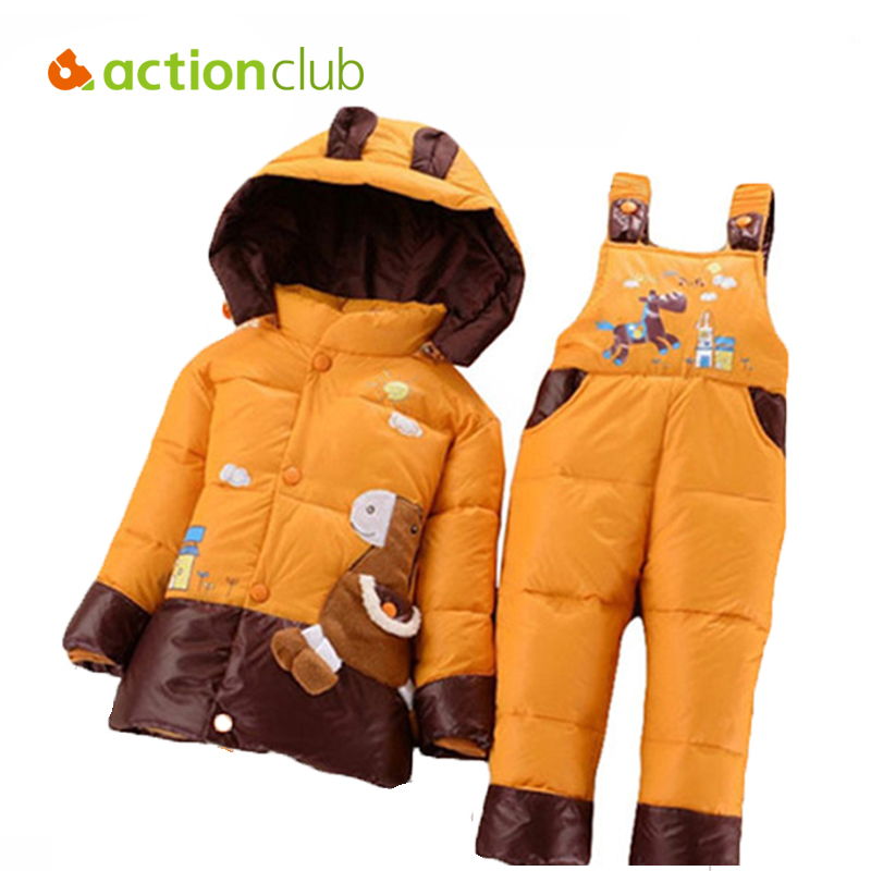 NEW 2015 winter children clothing sets duck down jacket sets pants-jacket hooded baby girls winter jacket & coat Pony pattern(China (Mainland))