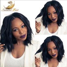 "#1/#2/#4/Natural Color Natural Wavy Lace Front Wig Thick Short Bob For Black Woman10""-18"" Brazilian virgin hair full lace wigs(China (Mainland))"