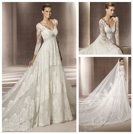 2015nitree v neckline empire waist ivory lace hot sale for Long sleeve lace wedding dresses for sale