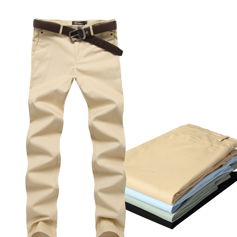 2015 Fashion Casual Mens Straight Pants New Design Business Trousers High Quality Cotton Pants 9 Colors 28-36 Size Free Shipping(China (Mainland))