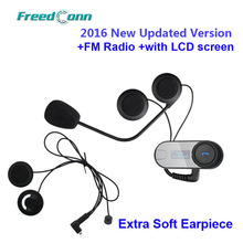 2016 nueva Version actualizada! TCOM-SC W / Screen BT Bluetooth de la motocicleta intercomunicador del casco de auriculares con Radio FM + Soft auricular(China (Mainland))