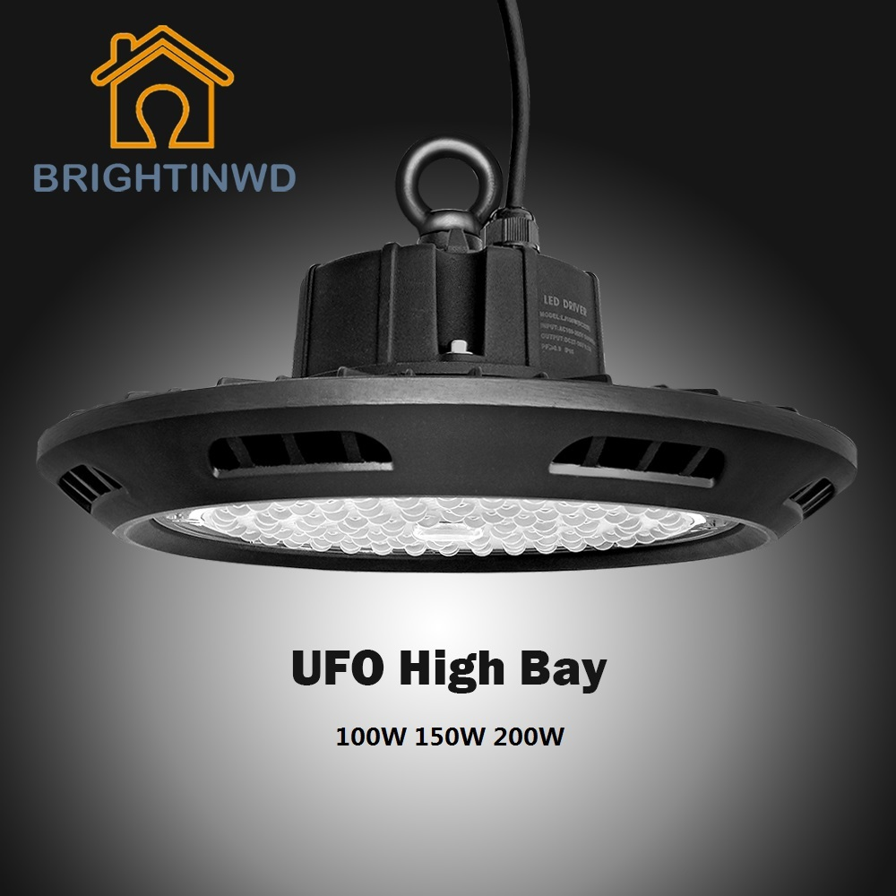BRIGHTINWD 10pcs UFO High Bay 100-265V 100W 150W 200W LED Flood Light SMD3030 Garage Light Industrial Led Lamp Warm Cold White(China (Mainland))
