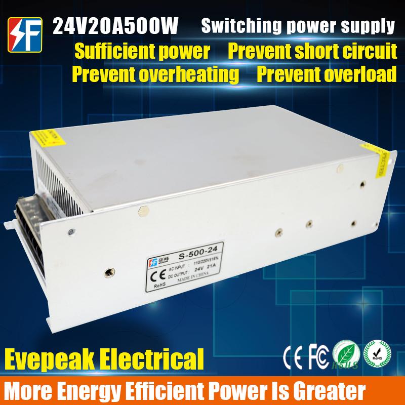 New 24V 20A 500W Power Supply AC 96V-240V Input DC 24V Power Supply 500W LED Driver for LED Lighting,LED Strip,CCTV,CE/FCC Cert(China (Mainland))