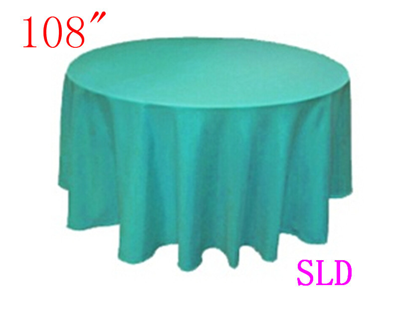 10 piece party tablecloth 100% Polyester 108'' Round turquoise tablecloth free shipping from china(China (Mainland))