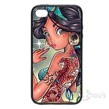 For iphone 4/4s 5/5s 5c SE 6/6s plus ipod touch 4/5/6 back skins mobile cellphone cases cover Tattoo Portrait Princess Zoom