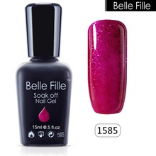 Buy BELLE FELLE 15ml Clear Color UV Gel Polish Bling Glitter esmaltes permanentes de uv Manicure Nail art varnish cosmetics Makeup for $2.79 in AliExpress store