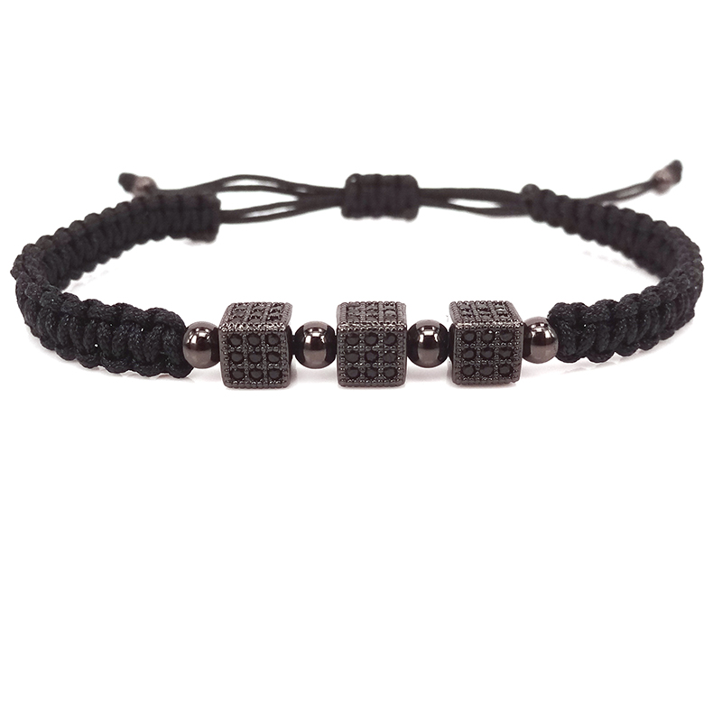 2016 new fashion black men bracelets cube jewelry bracelet Women bracelet for men Macrame bracelets fashion women bangles(China (Mainland))