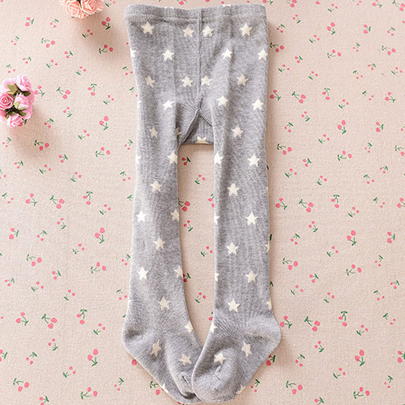 2016 New Baby Tights Stars Printed Stockings for Baby Girls Autumn Warm Cotton knitted Pantyhose Leg Warmer Two Colors(China (Mainland))