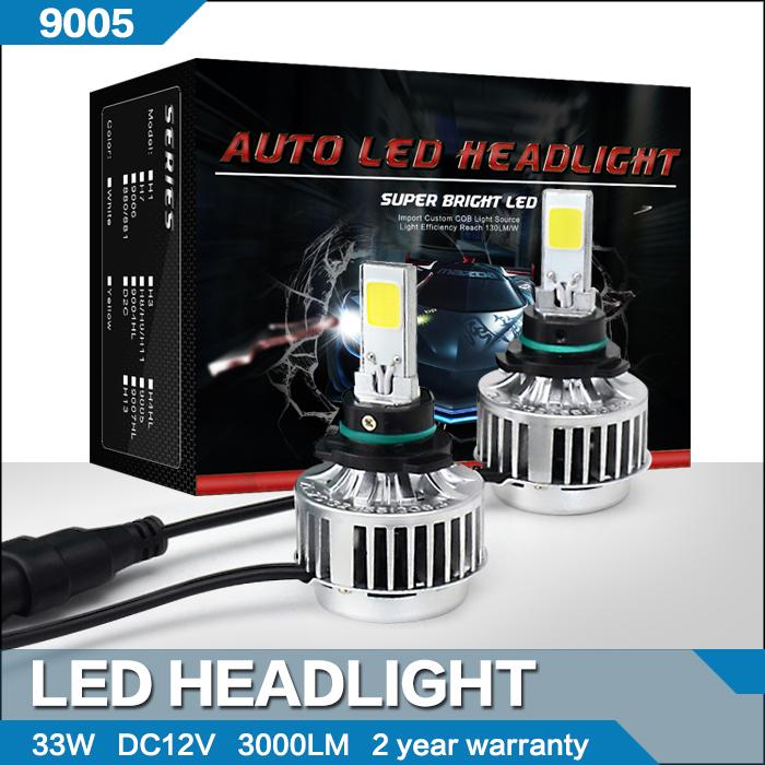All In One 2pcs/lot 9005 HB3 33W Car Cree LED Headlight Kits 3000Lm White COB Chip LED Bulbs Globe White LED Car Fog Light(China (Mainland))