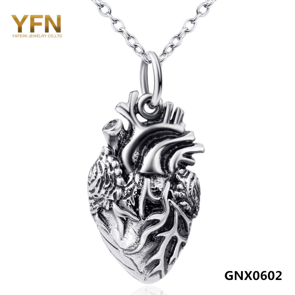 Half Anatomical Heart Jewelry Vintage Necklace Wholesale 925 Sterling Silver Jewelry Pendant Necklace For Women or Men GNX0602(China (Mainland))