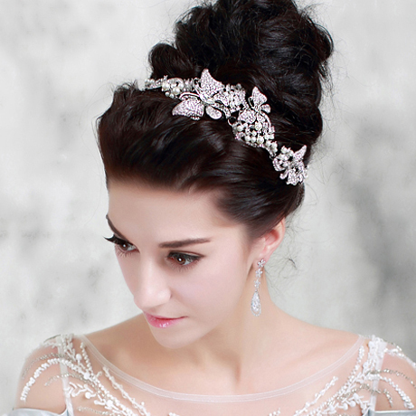 Rhinestone Butterfly Bridal Headpiece Handmade Pearl Wedding Hair Accessories Headband(China (Mainland))