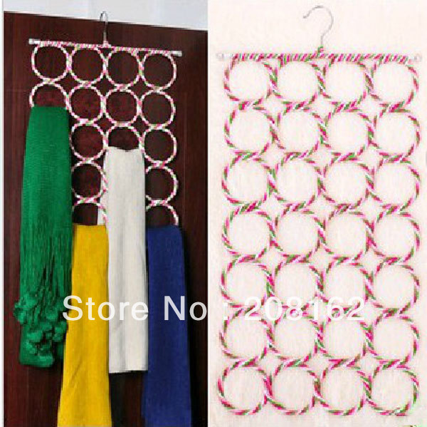 Multifunction Colorful Eco-friendly Paper Rattan Hanger 28 Ring Scarf Rack Silk Tie Foldable Rack(China (Mainland))
