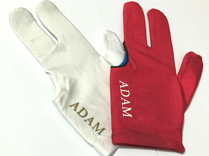 Free shipping 30pcs/lot ADAM New Billiards Pool Carom Gloves White/Red Three-fingle Fabric Snooker Gloves Billiard supplies(China (Mainland))