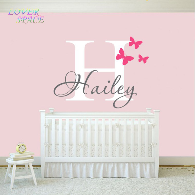 New girls name wall decal sticker butterfly wall decals for Custom wall mural decals
