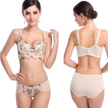 2015 Luxury Deep V lingerie New brand sexy Plus size Multi Color push up bra set floral embroidery lace women underwear sets
