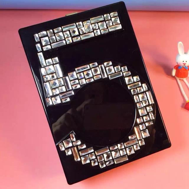 Известный мода марка продажи алмазов черные полосы цепи 5 акрил клатч вечерняя сумка мини-сумка ну вечеринку