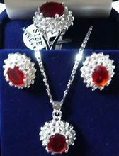 Free shipping@@@@@ Charming!14KGP Red Rhinestone necklace Earring ring Sets(China (Mainland))