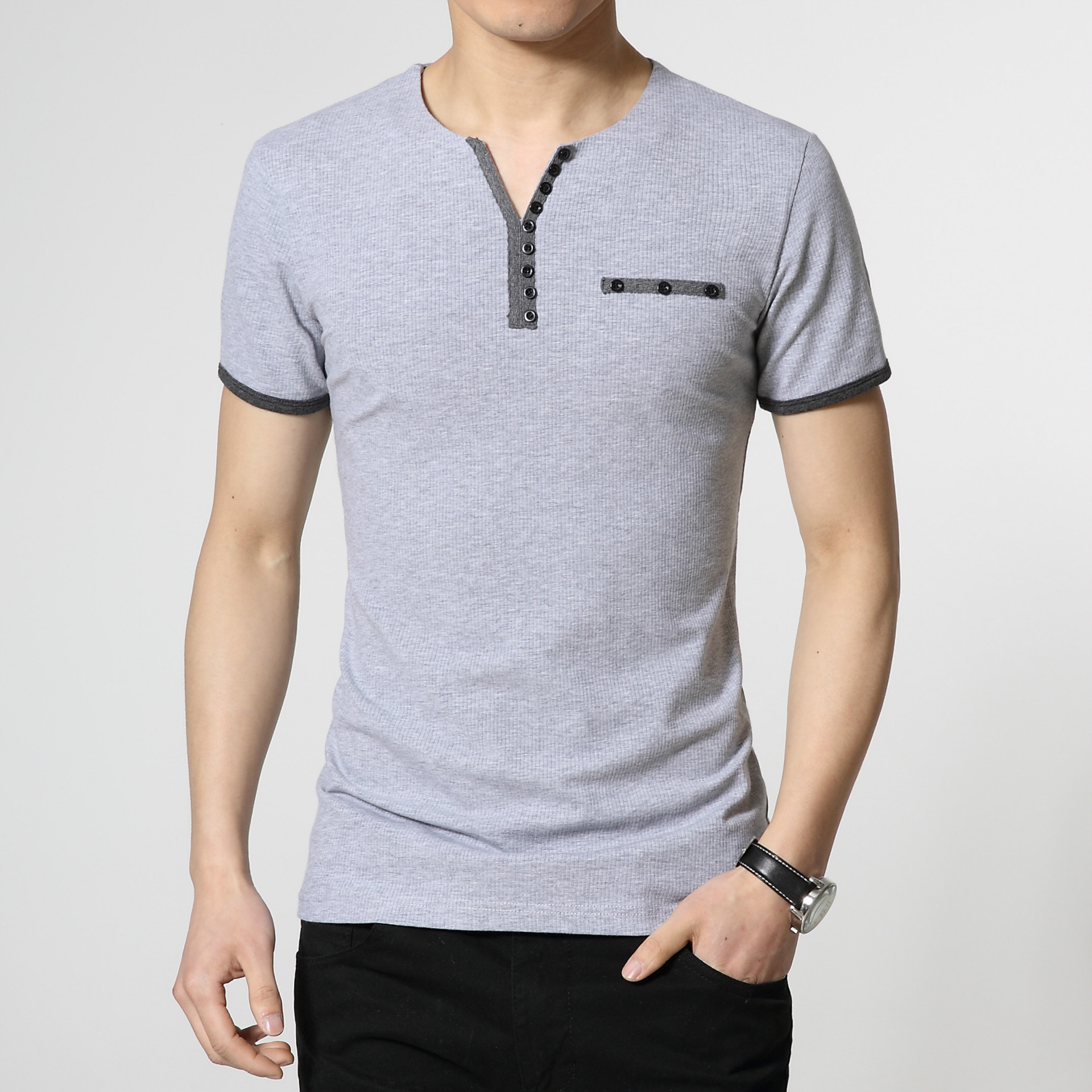 2015 summer fashion solid color t shirts men high qulaity for High neck tee shirts