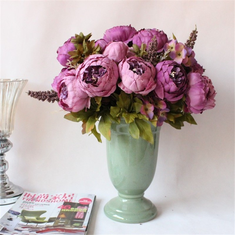Hot Sales Artificial Flowers Silk flower European Fall Vivid Peony Fake Leaf Wedding Home Party Decoration
