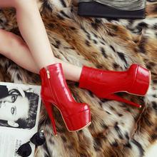 Kadın Platformu Botları 15.5 cm Seksi Ince Yüksek Topuklu yarım çizmeler Moda Patent Deri Fermuar Sonbahar Kış Ayakkabı Artı Boyutu 2018(China)